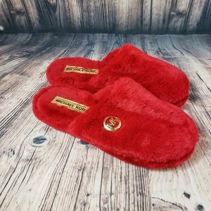 Michael Kors Red Fluffy Bedroom Slippers Size XL
